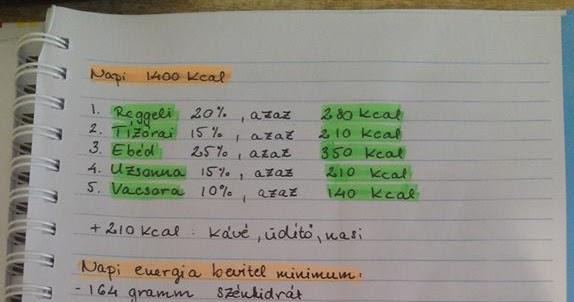 1600 kcal mintaétrend)